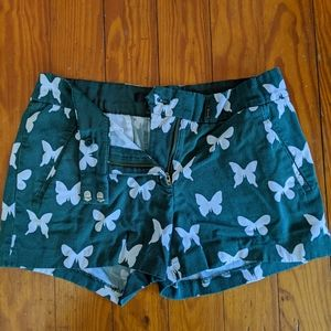 J Crew shorts with butterfly print